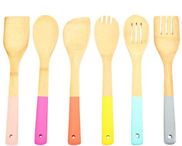 Wooden Paint Dipped Utensil