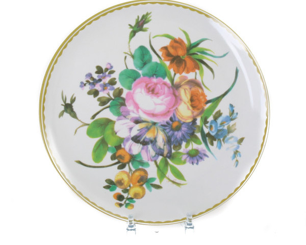 Antique Melamine Plate Colourful Bouquet