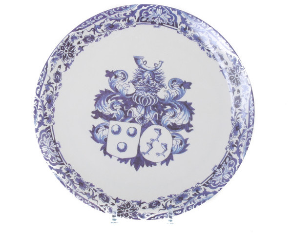 Antique Melamine Plate Blue Crest