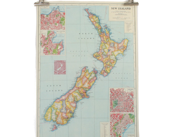 Cavallini New Zealand Map Poster