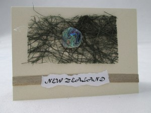 HANDMADE GREETING CARD – PAUA AND FLAX GRASS