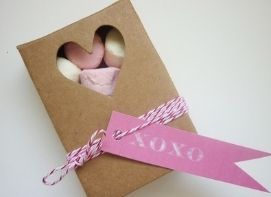 Heart cut out kraft box with twine and tag